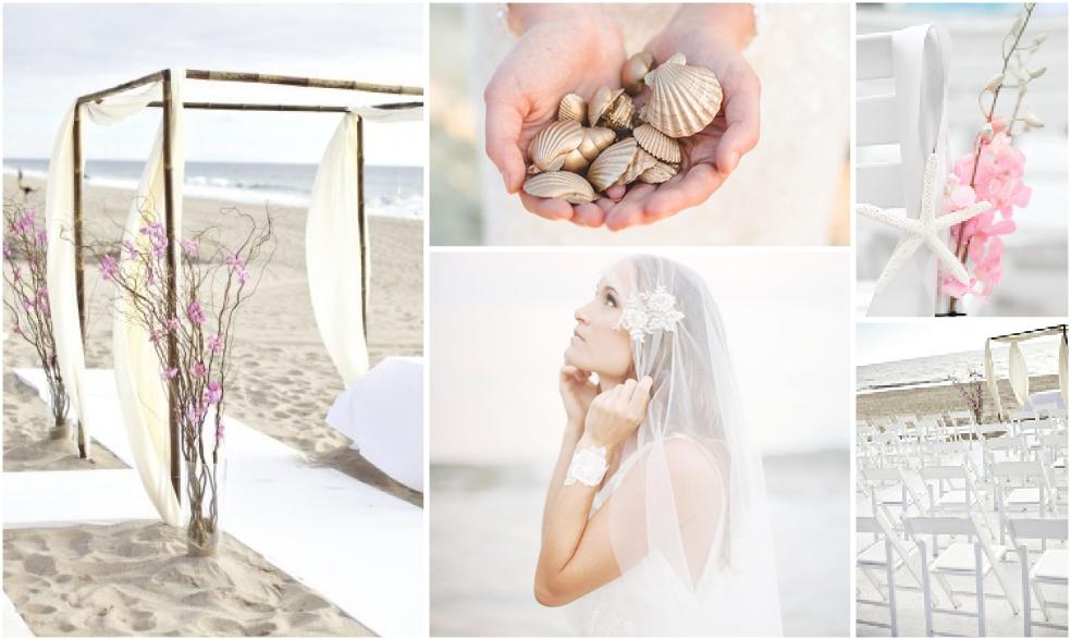 Strandhochzeit Inspiration in rosé-weiß